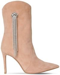 Alexandre Vauthier 100mm Embellished Suede Boots - Braun