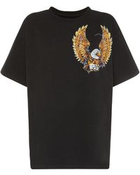 MM6 by Maison Martin Margiela Eagle Printed Cotton Jersey T-shirt - Black