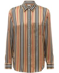 Burberry - Godwit Check Printed Silk Twill Shirt - Lyst
