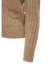 Victoria Beckham Logo Wool & Cashmere Rib Knit Cardigan - Natural