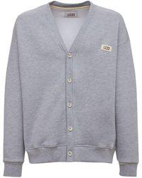 LC23 Cotton Fleece Cardigan - Gray