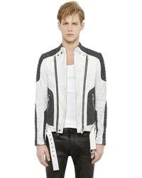Balmain Washed Cotton Denim Moto Jacket - Multicolour