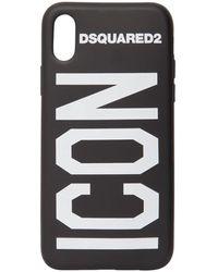 "DSquared² Cover Iphone X/xs ""icon"" In Gomma - Nero"