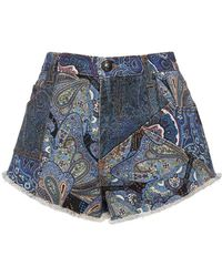 Etro Printed Cotton Denim Mini Shorts - Blue
