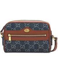 Gucci Мини-сумка Из Жаккардового Денима Ophidia Gg - Синий