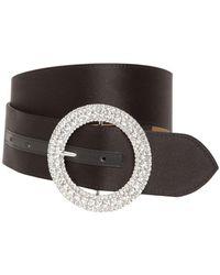 B-Low The Belt 40mm Clara Satin Belt W/crystal Buckle - Black