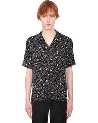 Saint Laurent Kurzärmeliges Seidenhemd Mit Sterndruck - Schwarz