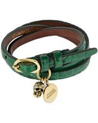 Alexander McQueen Bracelet Triple Tour En Cuir Brillant - Vert