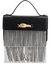 Gucci Leather & Crystal Top Handle Bag - Black