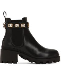 Gucci Leather Ankle Boot With Belt - Black