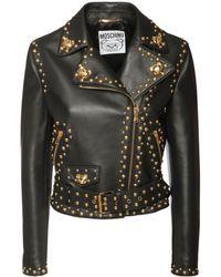 Moschino Nappa Leather Studded Biker Jacket - Black