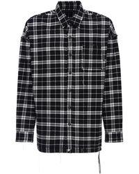 MASTERMIND WORLD Reversible Flannel Shirt W/raw Cut Seams - Black