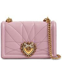 Dolce & Gabbana Кожаная Сумка Mini Devotion - Розовый