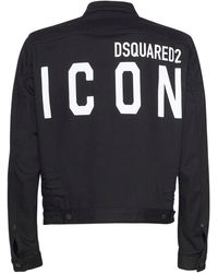 DSquared² Print Icon Logo Stretch Dan Denim Jacket - Black