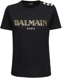 Balmain Футболка Из Хлопкового Джерси С Логотипом - Черный