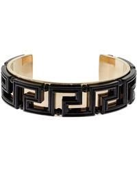Versace Varnished Greek Motif Cuff Bracelet - Metallic