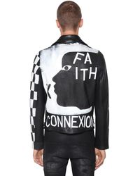 Faith Connexion レザー ペイントバイカージャケット - ブラック