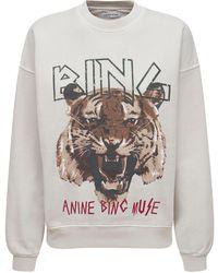 Anine Bing Sweatshirt Aus Bio-baumwolljersey Mit Tigerdruck - Grau