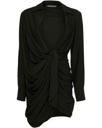 Jacquemus ビスコースブレンドミニドレス - ブラック