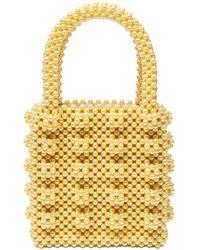 Shrimps Antonia Beaded Top Handle Bag - Yellow