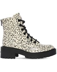 KENZO 50mm Snake Printed Leather Combat Boots - Black