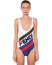 Fendi Mania Logo Printed Lycra Swimsuit - Синий