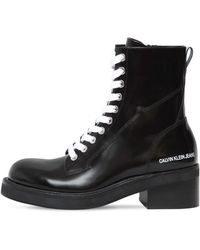 Calvin Klein 50mm Ebba Brushed Leather Ankle Boots - Black