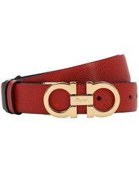 Ferragamo Cinturón Reversible De Piel 25Mm - Rojo