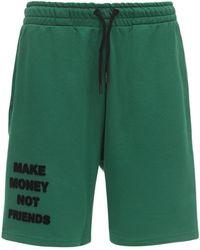 MAKE MONEY NOT FRIENDS Shorts Aus Baumwolljersey Mit Logo - Grün
