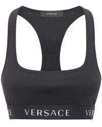 Versace Top De Jersey De Algodón Stretch - Negro