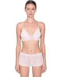 Alberta Ferretti - Cotton Crochet Bra Top - Lyst