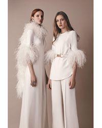 Elie Saab Robe Longue En Cady Avec Détails Plumes - Blanc