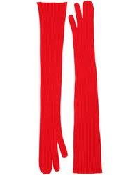 Maison Margiela Трикотажные Длинные Перчатки - Красный
