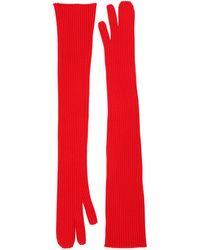 Maison Margiela Long Rib Knit Gloves - Red