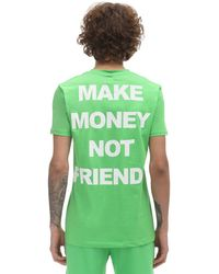 MAKE MONEY NOT FRIENDS コットンジャージーtシャツ - グリーン