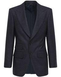 Tom Ford Однобортный Пиджак Из Шерсти - Синий