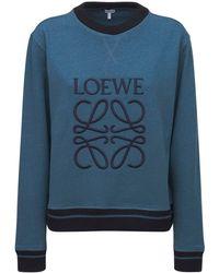 Loewe Logo Cotton Blend Sweatshirt - Blue