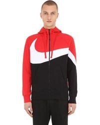 Nike Big Swoosh Zip-up Sweatshirt Hoodie - Red