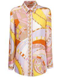 Emilio Pucci Рубашка Из Шёлкового Атласа С Принтом - Розовый
