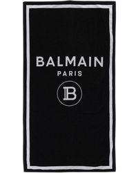 Balmain Logo Print Beach Towel - Black