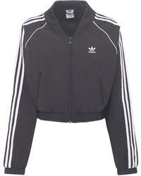 adidas Originals Logo Cropped Nylon Track Jacket - Black