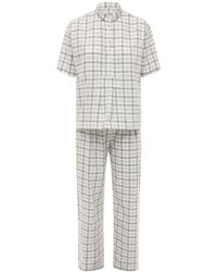 The Sleep Shirt Cotton Plaid Flannel Pajama Set - Gray