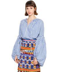 Stella Jean - Striped Cotton Blouse W/ Puff Sleeves - Lyst