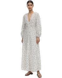 RIXO London Платье Макси Blaire С Принтом - Белый