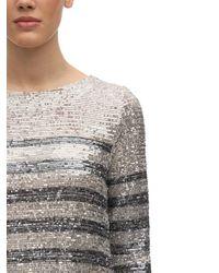 In the mood for love Striped Sequin Midi Dress - Metallic