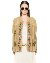 Polo Ralph Lauren - Bead-Embellished Fringed Suede Jacket - Lyst