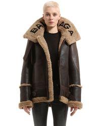 Balenciaga Logo Shearling & Leather Jacket - Brown