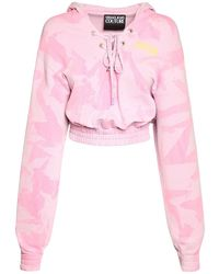 Versace Jeans Couture Lady Light フリースクロップスウェットフーディー - ピンク