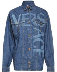 Versace Рубашка Из Хлопкового Деним Стрейч - Синий