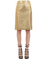 Pedro Lourenco - Quilted Metallic Cotton Blend Skirt - Lyst